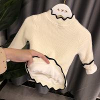 女童打底毛衣韩版女小童洋气针织衫秋冬婴儿宝宝加绒毛衣女 1-3岁 米白色加绒 波浪针织打底衫
