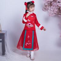 女童唐装汉服公主裙中国风童装中式宝宝装连衣裙儿童旗袍礼服加厚