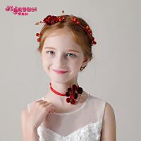 儿童皇冠红色发饰项链套装花朵配饰女孩演出头花头饰花童发箍