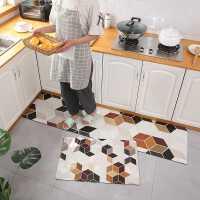 网红厨房地垫防滑防油耐脏家用可擦免洗长条厨房地毯皮革pvc脚垫