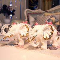 大象摆件一对招财客厅玄关电视柜酒柜创意欧式家居装饰品开业礼品