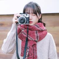 秋冬天日系韩版格子围巾女冬季加厚长款保暖学生情侣围脖百搭披肩