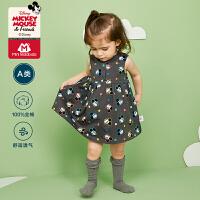【2件3折价:35.7元】迷你巴拉巴拉婴儿连衣裙2020夏季女宝宝全棉米奇IP满印高腰连衣裙
