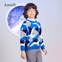 【2件35折:118.7】安奈儿童装男童2019冬季新款迷彩图案圆领毛衣