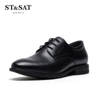 【领券减120】ST&SAT/星期六2019春秋新款低跟圆头系带休闲皮鞋男鞋SS93129804