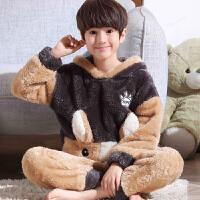 儿童睡衣男童秋冬季厚款珊瑚绒法兰绒小孩套装男孩中大童家居服