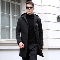 连帽中长款男士羽绒服黑色冬季外套