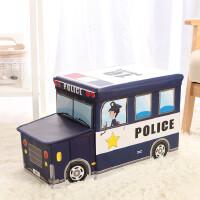 收纳凳 儿童玩具收纳凳子储物凳可坐多功能折叠椅创意宝宝卡通整理箱神器 藏青色 带头警车