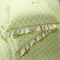 伊迪梦家纺 全棉单件荷叶花边枕套单品单卖 纯棉环保印染不褪色 韩式公主风单个/一对装OK102