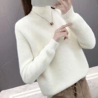 秋冬半高领纯色打底衫仿绒套头糖果色ins超火毛衣女卫衣上衣
