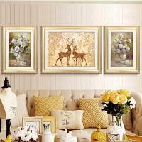 沙发背景墙装饰画现代简约高档墙画欧式客厅三联画壁画大气挂画