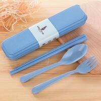 旅行稻谷壳勺子餐具套装便携式小麦秸秆学生筷子叉子儿童三件套