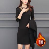 女装连衣裙女装大码连衣裙2019新款法国小众两件套初春韩版洋气很仙的套装裙 黑色 加绒