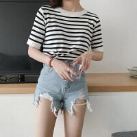 2019春夏新款上衣韩版短袖显瘦糖果色条纹针织T恤女潮 均码