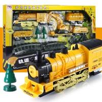 轨道车玩具遥控车儿童复古电动轨道火车超大仿真车载勾机套装组合模型男孩玩具3-6岁男孩玩具 电动轨道车 5节车厢 充电版