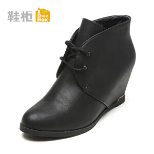 Daphne/达芙妮旗下鞋柜  鞋柜冬季新款休闲女鞋 系带内增高女靴