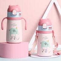 儿童学饮保温杯带吸管手柄背带316不锈钢保温壶男女宝宝杯幼儿园便携减负水杯