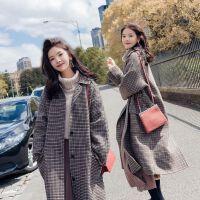 (加厚)毛呢外套女中长款韩版学生2019秋冬风衣格子呢子大衣 千鸟格 黑咖格子 XL 建议120-130斤