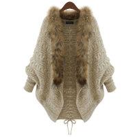 宽松大码女装秋冬毛领毛衣开衫针织衫外套蝙蝠袖斗篷披肩 卡其色 S 适合90-110
