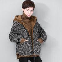 两面穿仿兔毛格子外套女短款2019冬装韩版潮宽松加绒连帽上衣 S 85-100斤
