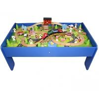 儿童木质火车轨道带桌子城市游戏桌电动托马斯木制轨道车玩具套装定制 官方标配