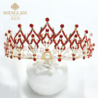 儿童皇冠头饰水晶发箍红色女孩生日发饰