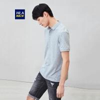 HLA/海澜之家双色印花polo衫男短袖舒适柔软短T