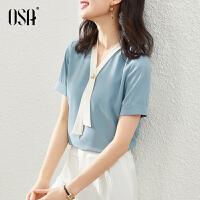 【3折折后价:119元】OSA欧莎宽松气质v领雪纺衫女2021年夏季新款短袖小衫高档洋气时尚上衣