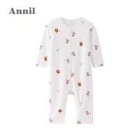 【3件3折】安奈儿婴儿连体衣服春秋季薄款新生儿长袖睡衣幼儿宝宝爬行服哈衣3