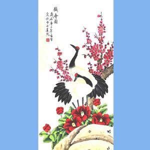 北京市美术家协会会员,北京市著名工笔画画家凌雪(鹤寿图)1