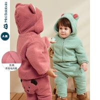 迷你巴拉巴拉婴儿外套男女宝宝羊羔毛衣服2019冬新款冲棉加购便服