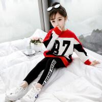 女童春装运动套装2019新款儿童春款洋气童装韩版网红卫衣两件套潮 红色