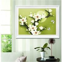 3D印花十字绣客厅新款简约现代花卉线绣简单小幅卧室玉兰花新手