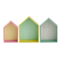北欧创意房儿童挂件装饰小客厅时尚墙壁置物架挂饰软装木质壁饰 花色