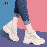 UX女鞋内增高运动鞋女2019春季新款百搭春款透气白色厚底休闲旅游老爹鞋