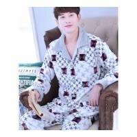 睡衣男秋冬季珊瑚绒大码加厚加绒开衫家居服套装法兰绒男士长袖
