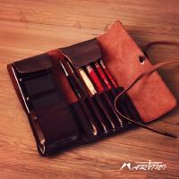 马蒂尼存放24色固体水彩颜料防皮制笔袋复古防皮创意简约卷帘式保护画笔橡皮用单个耐用多用途卷帘
