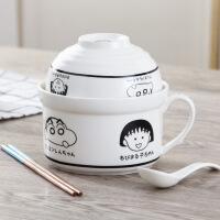 日式陶瓷卡通可爱泡面碗大号带盖学生餐具饭盒面杯碗筷勺套装