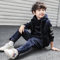童装男童秋季套装2018新款儿童加绒洋气金丝绒男孩秋冬季韩版潮衣