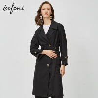 伊芙丽女风衣大衣2020新款春季韩版黑色女士单排扣英伦风长款外套