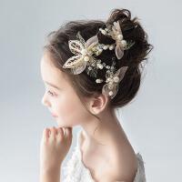 女童发饰公主韩式淑女百搭女孩发卡儿童头饰金色花朵头花发夹