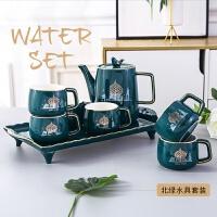 北欧风陶瓷咖啡杯子描金果汁冷水壶办公下午茶杯具套装礼品