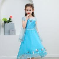 冰雪奇缘公主裙春夏季儿童演出服迪士尼正版礼服艾爱莎公主裙女 紫蓝色