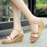 新款春夏季女鞋平底坡跟凉鞋女高跟鞋粗跟防滑鱼嘴学生鞋子