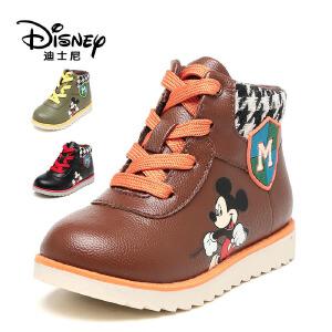 鞋柜/迪士尼冬卡通男童鞋平跟系带男童短靴