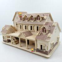 DIY小屋手工制作小房子模型屋 木质建筑3d模型拼装玩具那拉提别墅