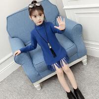 女童毛衣套头2018秋装新款韩版洋气中长款儿童中大童针织打底衫潮