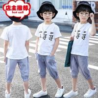 95%棉童装男童套装夏季小哥哥短袖中大童两件套棉麻厂家直销 白色 小哥哥套装