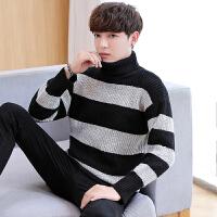 高领毛衣男冬季韩版加厚男士宽松针织衫潮流个性青少年条纹羊绒衫