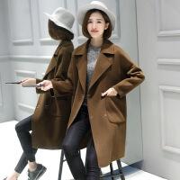 秋冬羊毛双面呢大衣毛呢子外套妮子女中长款双面绒零羊绒韩版大码